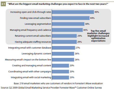 biggest email marketing challenges 2009